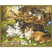 9130361 Художній творчий набір Сім'я котів, 40х50 см,